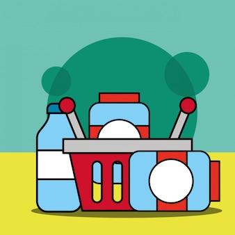 Корзина для покупок с контейнерами из стеклянных изделий