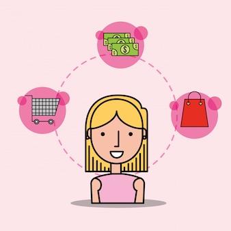 漫画女性顧客ショッピングカートのお金の袋
