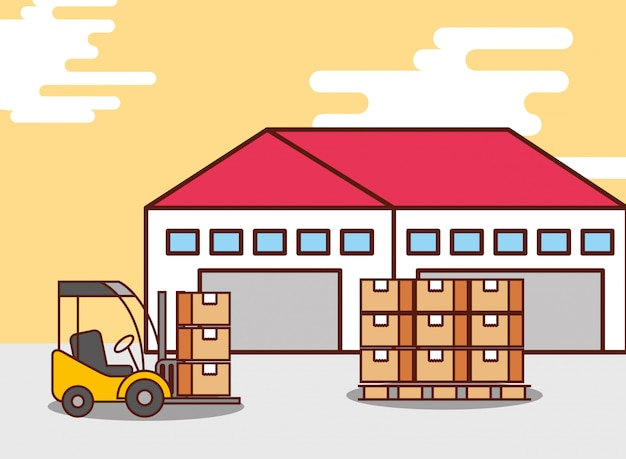 物流倉庫の段ボール箱とフォークリフト機
