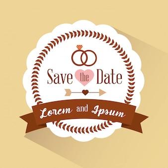 Сохраните приглашение даты с ретро значком
