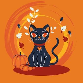 ハロウィン猫を装ったキャラクターシーン
