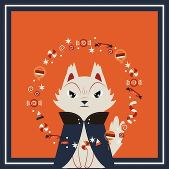 ドラキュラのキャラクターを装ったハロウィン猫