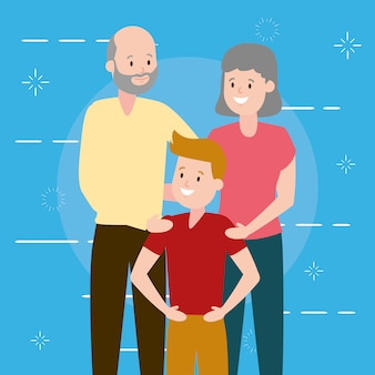 Бабушка и дедушка и внук