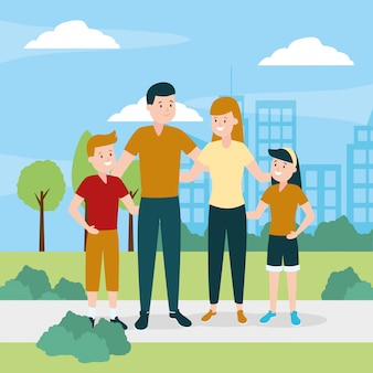 Семья на улице