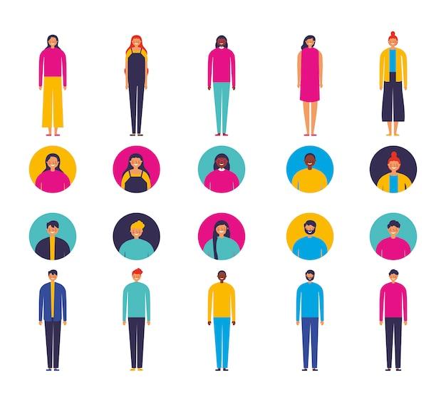 Группа разных людей персонажей
