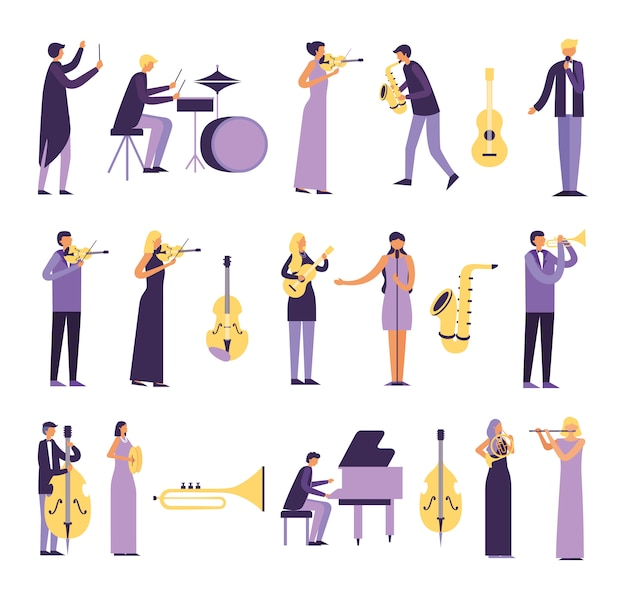 楽器を演奏する人々の束