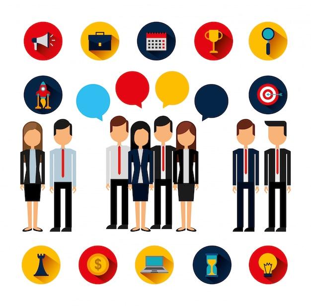 Связка деловых людей, аватаров и расходных материалов