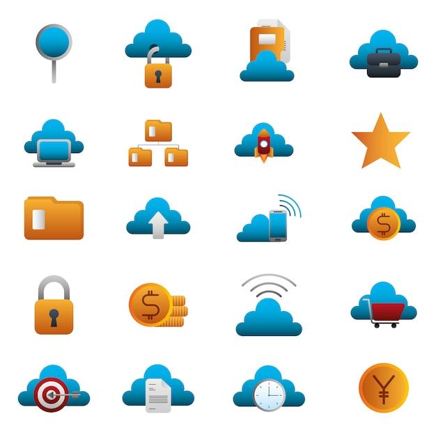 Набор бизнес красочный набор иконок