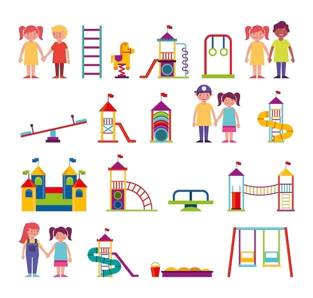 子供と遊園地のバンドルキャラクターのグループ