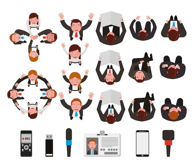 Группа деловых людей связывают персонажей