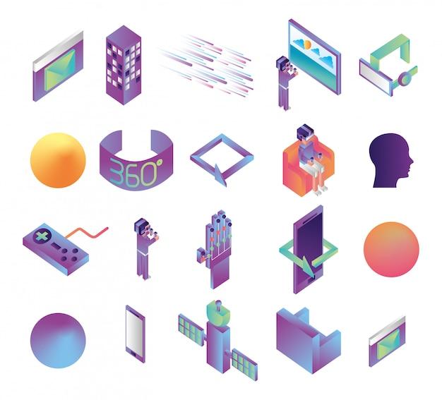 Пакет иконок технологий виртуальной реальности