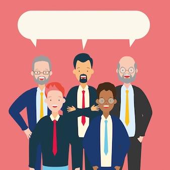 話している男性のグループ