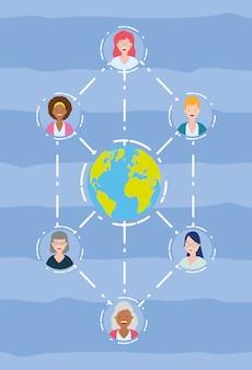 接続された女性のグループ