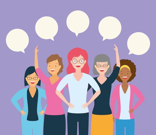 話している女性のグループ