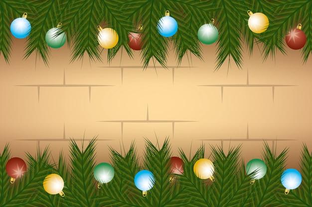Веселая рождественская открытка с венком из гирлянд и шарами