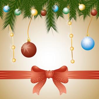 花輪の花輪とボールの装飾とメリークリスマスカード