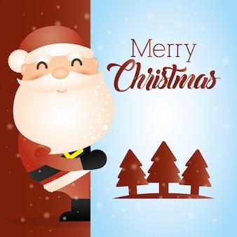 Веселая рождественская открытка с милым дедом морозом