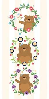 花フレームイラストでクマのお母さんのかわいいクマの花輪花セット