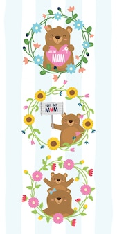Милые медведи венок цветы день матери медведи в цветочной рамке иллюстрации