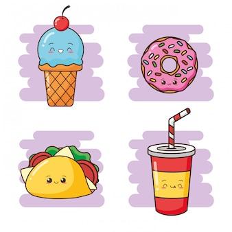 かわいいファーストフードかわいい飲み物、タコス、ドーナツ、アイスクリームのイラスト