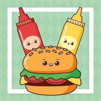 ケチャップとマスタードが付いたかわいいファーストフードかわいいハンバーガー