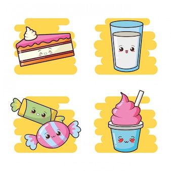 かわいいファーストフードのかわいいケーキ、キャンディー、アイスクリーム、ミルクイラスト