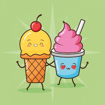 Счастливое мороженое каваи, дизайн еды, иллюстрация
