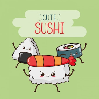 Счастливые суши каваи, дизайн еды, иллюстрация