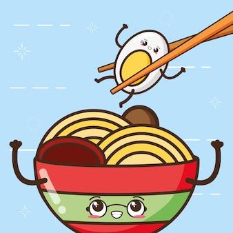 Счастливое яйцо каваи и спагетти, дизайн еды, иллюстрация