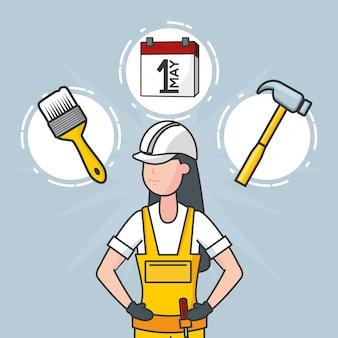 Рабочий с объектами строительства, иллюстрация