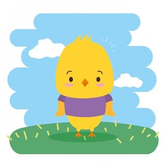Цыпленок милое животное, мультфильм и плоский стиль, иллюстрация