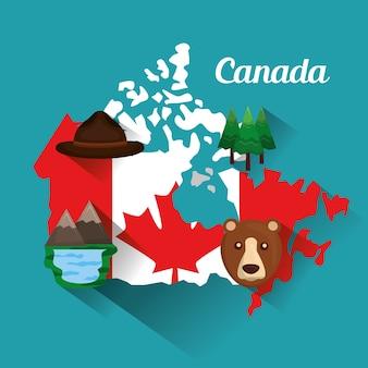 カナダの旗の地図帽子の熊の湖の山