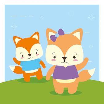 キツネのカップル、かわいい動物、漫画、フラットスタイル、イラスト
