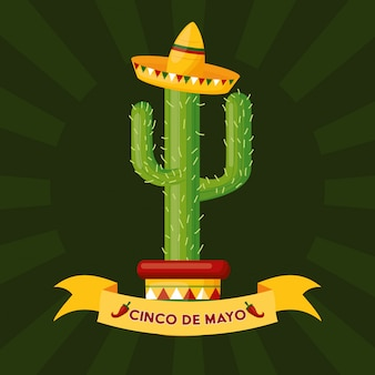 Кактус с мексиканской шляпой, синко де майо, мексика иллюстрация