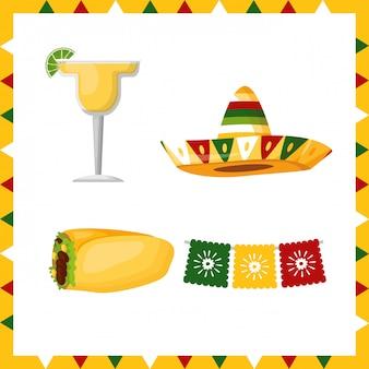 Набор иконок культуры мексики, иллюстрации