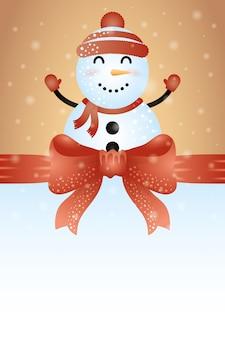 かわいい雪だるまのキャラクターとメリークリスマスの背景