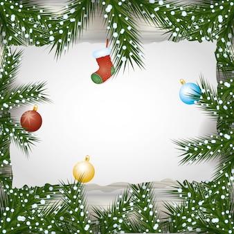 Веселый новогодний фон с шарами и листьями украшения