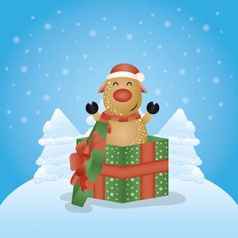 Веселый новогодний фон с милым персонажем оленей