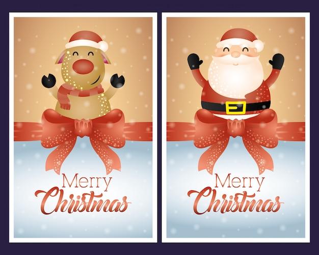 サンタクロースとトナカイのキャラクターとメリークリスマスの背景