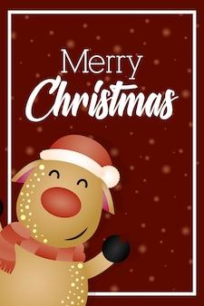 かわいいトナカイのキャラクターとメリークリスマスの背景