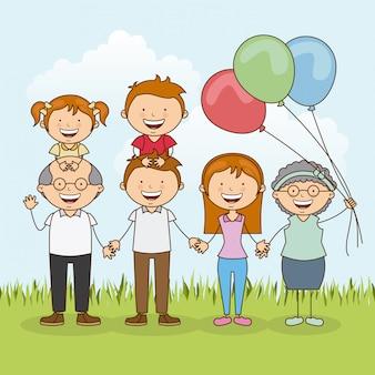 幸せな家族の屋外