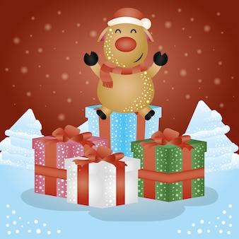 ギフトとトナカイのメリークリスマスシーン