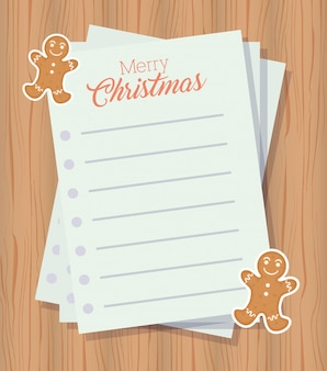 レターシートとジンジャークッキーとメリークリスマスシーン