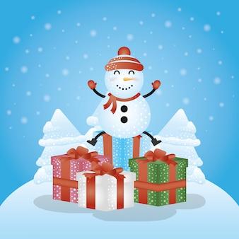 ギフトと雪だるまのメリークリスマスシーン