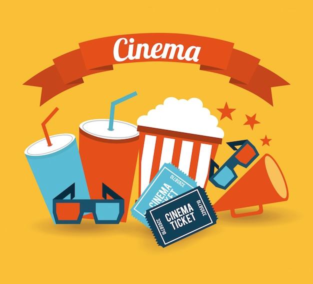 オレンジ色の背景上の映画館