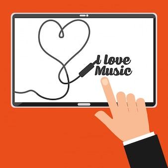 Экран планшета точки рукой с надписью я люблю музыку