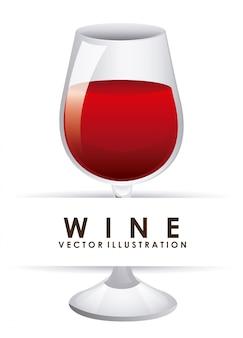 Бокал вина над белым
