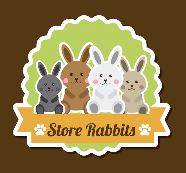 茶色の上の赤ちゃんのデザイン、ウサギのステッカー