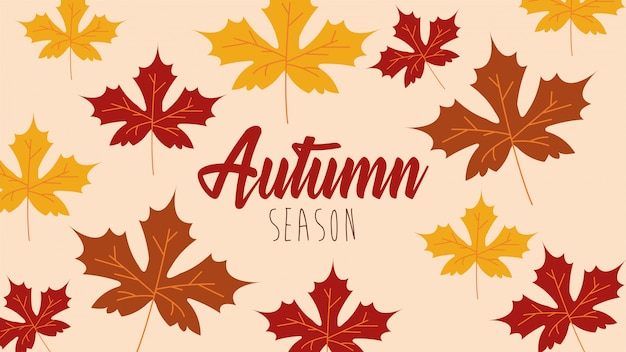 Привет осенний сезон кленовые листья шаблон