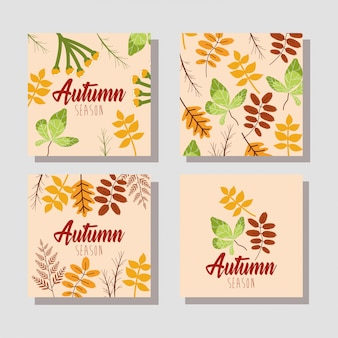 こんにちは秋のカードの束